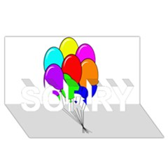 Colorful Balloons SORRY 3D Greeting Card (8x4)