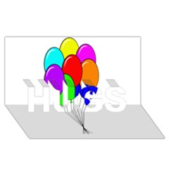 Colorful Balloons HUGS 3D Greeting Card (8x4)
