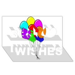 Colorful Balloons Best Wish 3D Greeting Card (8x4)