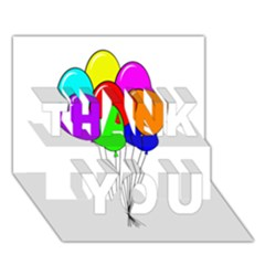 Colorful Balloons Thank You 3d Greeting Card (7x5)