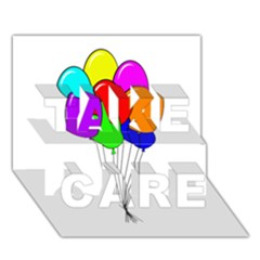Colorful Balloons TAKE CARE 3D Greeting Card (7x5)