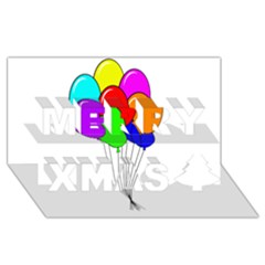 Colorful Balloons Merry Xmas 3D Greeting Card (8x4)