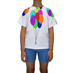 Colorful Balloons Kid s Short Sleeve Swimwear