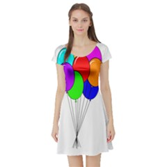 Colorful Balloons Short Sleeve Skater Dress