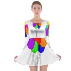 Colorful Balloons Long Sleeve Skater Dress