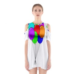 Colorful Balloons Cutout Shoulder Dress