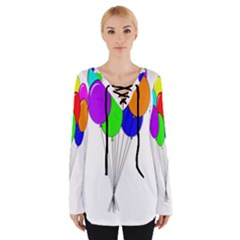 Colorful Balloons Women s Tie Up Tee