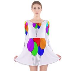 Colorful Balloons Long Sleeve Velvet Skater Dress