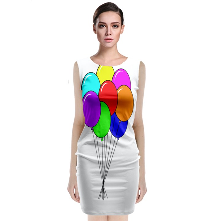 Colorful Balloons Classic Sleeveless Midi Dress