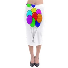 Colorful Balloons Midi Pencil Skirt