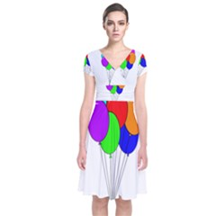 Colorful Balloons Short Sleeve Front Wrap Dress