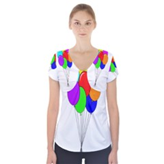 Colorful Balloons Short Sleeve Front Detail Top