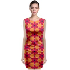 Red Flowers Pattern                               Classic Sleeveless Midi Dress