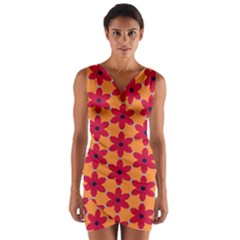 Red Flowers Pattern             Wrap Front Bodycon Dress
