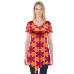 Red flowers pattern     Short Sleeve Tunic