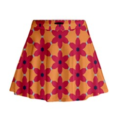 Red flowers pattern                                                                              Mini Flare Skirt