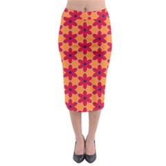 Red flowers pattern                                                                              Midi Pencil Skirt