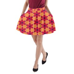 Red Flowers Pattern                                                                            A Line Pocket Skirt