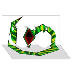 Decorative Snake Twin Hearts 3D Greeting Card (8x4)
