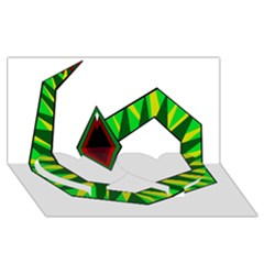 Decorative Snake Twin Heart Bottom 3D Greeting Card (8x4)