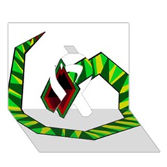 Decorative Snake Ribbon 3d Greeting Card (7x5)