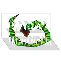 Decorative Snake Happy New Year 3D Greeting Card (8x4)