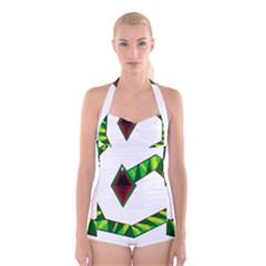 Decorative Snake Boyleg Halter Swimsuit