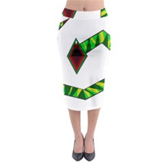 Decorative Snake Midi Pencil Skirt