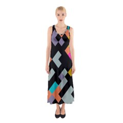Connected Shapes                                                                             Full Print Maxi Dress