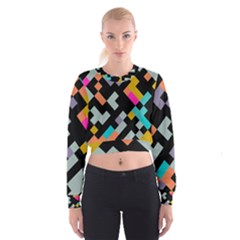 Connected shapes                                                                               Women s Cropped Sweatshirt