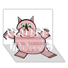 Pink Rhino YOU ARE INVITED 3D Greeting Card (7x5)