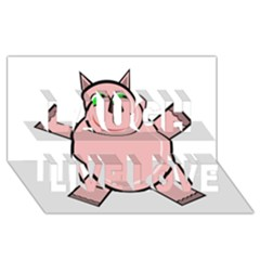 Pink Rhino Laugh Live Love 3D Greeting Card (8x4)