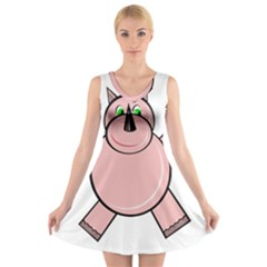 Pink Rhino V-Neck Sleeveless Skater Dress
