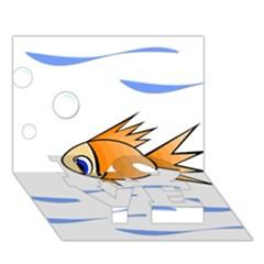 Cute Fish LOVE Bottom 3D Greeting Card (7x5)