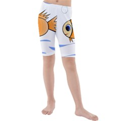 Cute Fish Kid s Mid Length Swim Shorts
