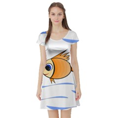 Cute Fish Short Sleeve Skater Dress