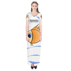 Cute Fish Short Sleeve Maxi Dress