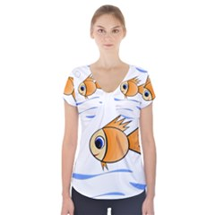Cute Fish Short Sleeve Front Detail Top