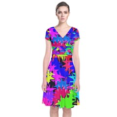 Colorful shapes                                            Short Sleeve Front Wrap Dress
