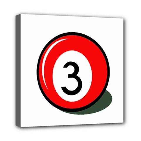 Billiard ball number 3 Mini Canvas 8  x 8