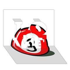 Billiard ball number 3 LOVE 3D Greeting Card (7x5)