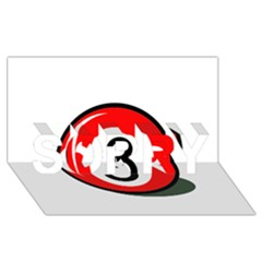 Billiard ball number 3 SORRY 3D Greeting Card (8x4)