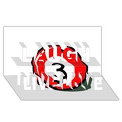 Billiard ball number 3 Laugh Live Love 3D Greeting Card (8x4)