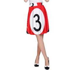 Billiard ball number 3 A-Line Skirt