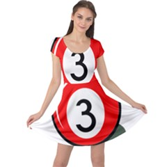 Billiard ball number 3 Cap Sleeve Dresses