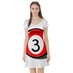Billiard ball number 3 Short Sleeve Skater Dress