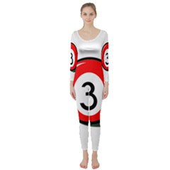 Billiard ball number 3 Long Sleeve Catsuit
