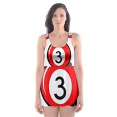 Billiard ball number 3 Skater Dress Swimsuit