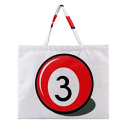 Billiard Ball Number 3 Zipper Large Tote Bag