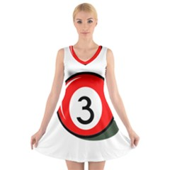 Billiard ball number 3 V-Neck Sleeveless Skater Dress
